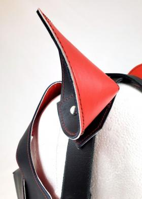 Red Leather Lined Black Leather Pup Hood with Red Stitching