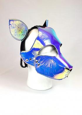 Holographic Leather Pup Hood
